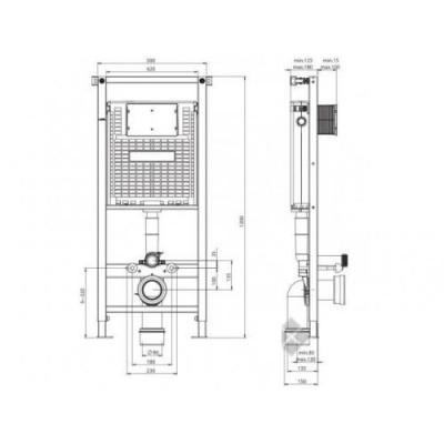 Инсталляционная система Alcora ST 1200+панель смыва+Vitra S 20 (5507B003-0101)+S20 Сидение для унитаза (77-003-001) - фото