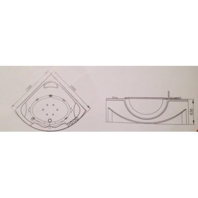 Акриловая ванна Volle 12-88-103А, размер 150х150, угловая, гидро-аэромассажная  - фото